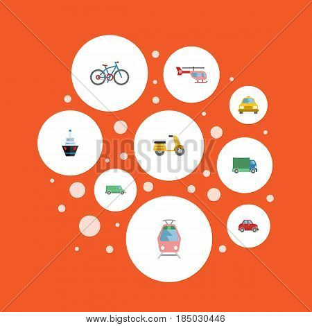 Flat Lorry, Carriage, Bicycle And Other Vector Elements. Set Of Transport Flat Symbols Also Includes Freight, Moped, Cycle Objects.