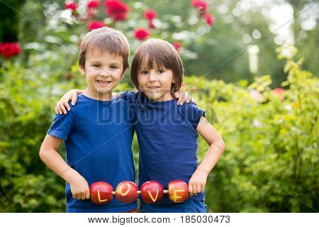 Cute Little Children, Boy Brothers, Holding A Love Sign, Made From Apples