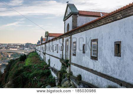 Side view of Serra do Pilar Monastery in Vila Nova de Gaia city Portugal
