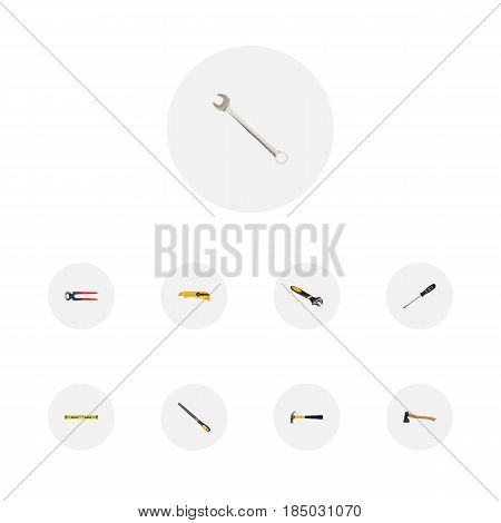 Realistic Sharpener, Wrench, Hatchet And Other Vector Elements. Set Of Kit Realistic Symbols Also Includes Pliers, Spanner, Hammer Objects.