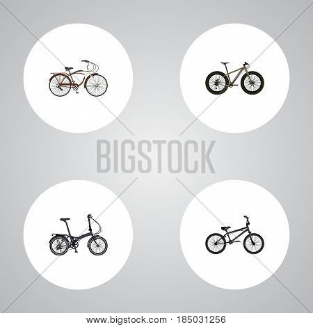 Realistic Folding Sport-Cycle, Extreme Biking, Bmx And Other Vector Elements. Set Of Bicycle Realistic Symbols Also Includes Folding, Extreme, Bike Objects.
