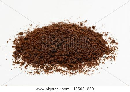 Soluble coffee on white background, diet and health