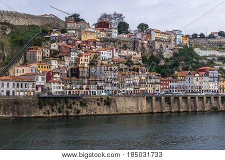 Porto riverfront seen from Vila Nova de Gaia city Portugal