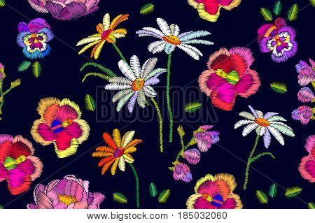 Seamless vector pattern with pansies, chamomiles and peonies. Retro textile collection.