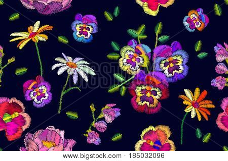 Seamless floral background with chamomiles, pansies and tropical flowers. Vintage motifs.