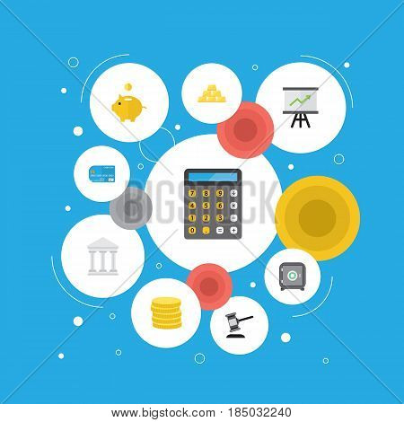 Flat Money Box, Payment, Small Change And Other Vector Elements. Set Of Business Flat Symbols Also Includes Bank, Calculator, Accounting Objects.