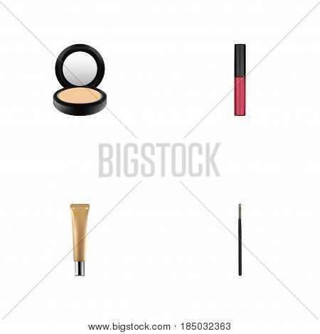 Realistic Contour Style Kit, Blusher, Liquid Lipstick And Other Vector Elements. Set Of Greasepaint Realistic Symbols Also Includes Lipstick, Makeup, Cream Objects.