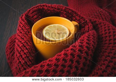 Cup Of Hot Tea With Lemon Dressed In Knitted Warm Winter Scarf, Warm Knitted Sweater Or Blanket. Sti