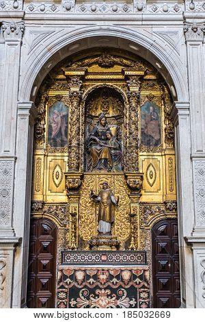 Side altar in Se Cathedral in Porto city in Portugal