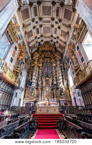 Nave of Se Cathedral in Porto city in Portugal