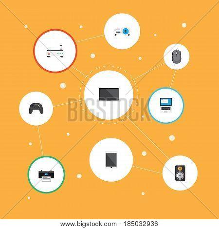 Flat Laptop, Presentation, Joystick And Other Vector Elements. Set Of Laptop Flat Symbols Also Includes PC, Mouse, Modem Objects.