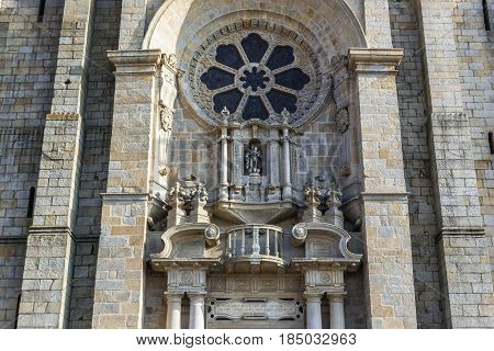 Frontage of Se Cathedral in Porto city in Portugal