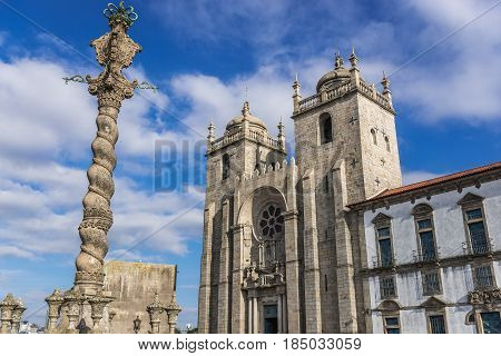 City pillory and front view of cathedral in Porto Portugal