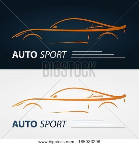 Set of modern car emblems. Sports car silhouette. Logo design template for car service.