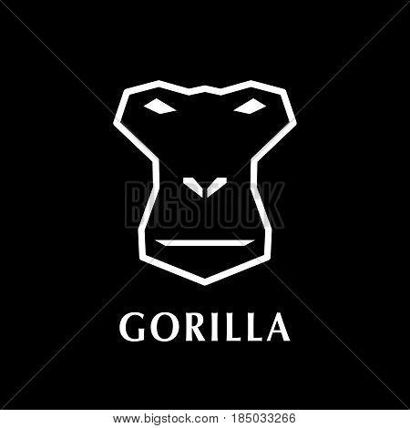 Gorilla head logo element. On black background.