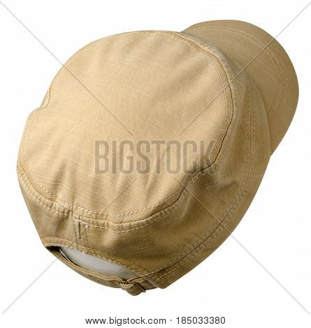 Hat Isolated On White Background. Hat With A Visor . Beige Hat