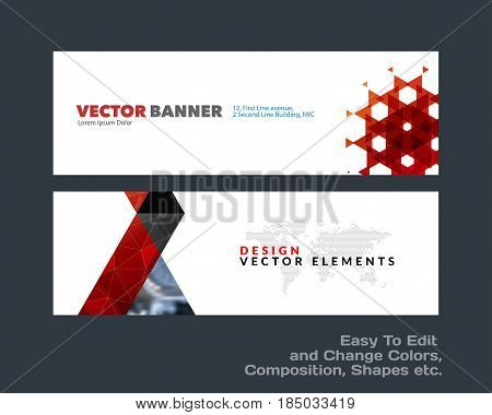 Abstract vector set of modern horizontal website banners with colourful triangles, geometric shapes for construction, teamwork, tech, communication. Clean web headers design with overlay effect.