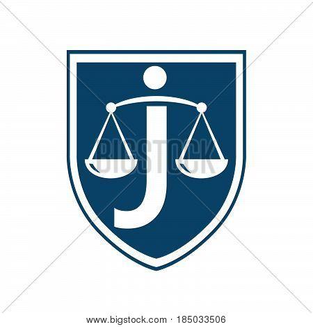 Letter J Law vector logo concept illustration. Legal logo icon. Scales logo icon.
