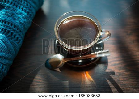 Coffee. Autumn Still Life: Cup Of Black Coffee On The Wooden Table Near The Window. The Sun's Rays O