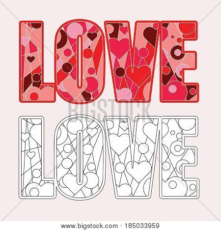 Love word coloring page vector illustration. Relaxation drawing design.