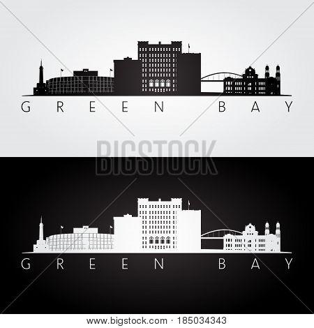 Green Bay USA skyline and landmarks silhouette black and white design vector illustration.