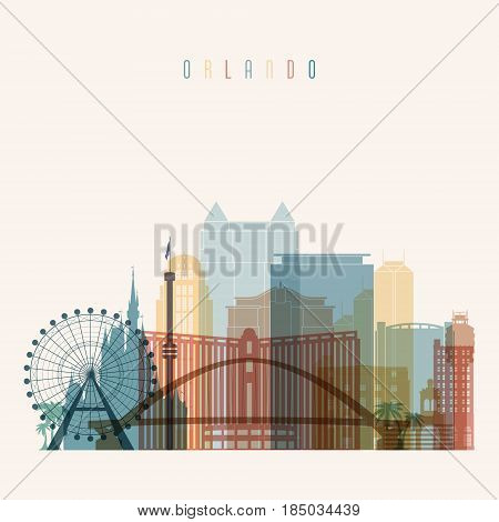 Transparent style. Orlando state Florida skyline detailed silhouette. Trendy vector illustration.
