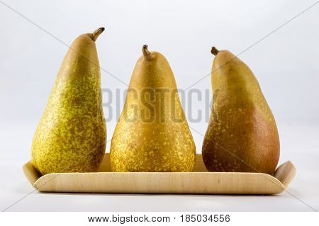 Delicious delicious ripe apples and pears on a white isolated background