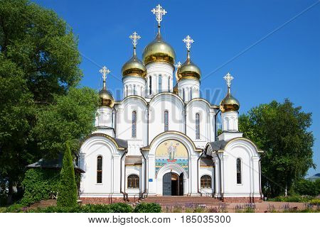 The modern St. Nicholas Cathedral in St. Nicholas' Convent on a sunny July day. Golden ring of Russia. Pereslavl Zalesky