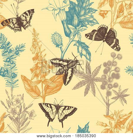 Vector seamless pattern with hand drawn poisonous plants and butterflies.