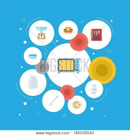 Flat Spice, Casserole, Electric Stove And Other Vector Elements. Set Of Food Flat Symbols Also Includes Food, Pan, Spice Objects.