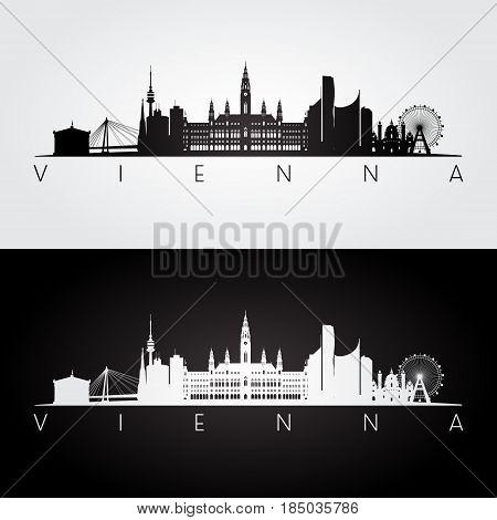Vienna skyline and landmarks silhouette black and white design vector illustration.