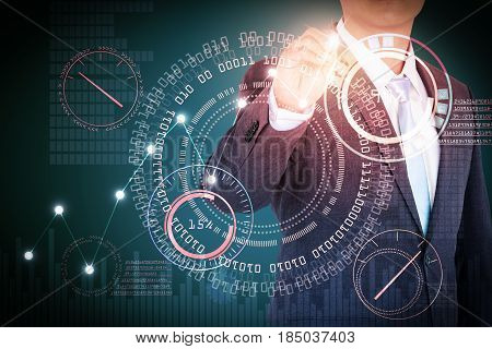 Technology and multi media concept, Mixed media of technology background and business man