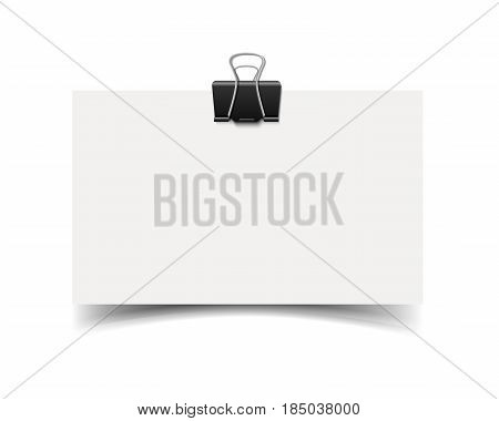 Blank white business cards with paper clip and soft shadow isolated on white background. White paper card. Realistic vector illustration of paper piece with space for information