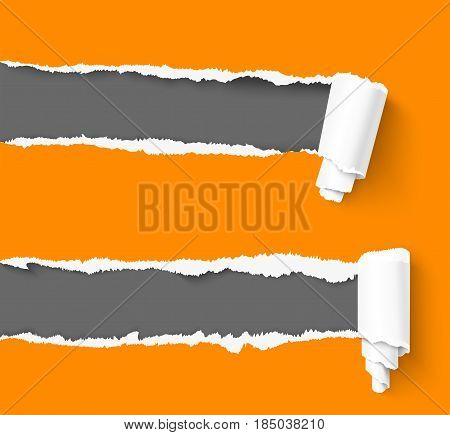 Two orange hole in paper with a paper roll over dark background with space for text. Realistic vector torn damaged paper with ripped edges. Torn paper design