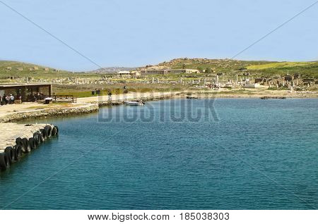 The Pier Leads to the Archaeological Site of Delos on Delos Island, Greece