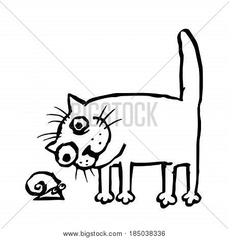The cat is studying the snail. Vector illustration. Cheerful pet and funny slug.