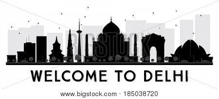 Delhi City Skyline Black and White Silhouette.