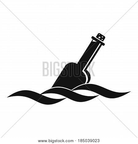 Glass bottle in a water icon in simple style isolated vector illustration