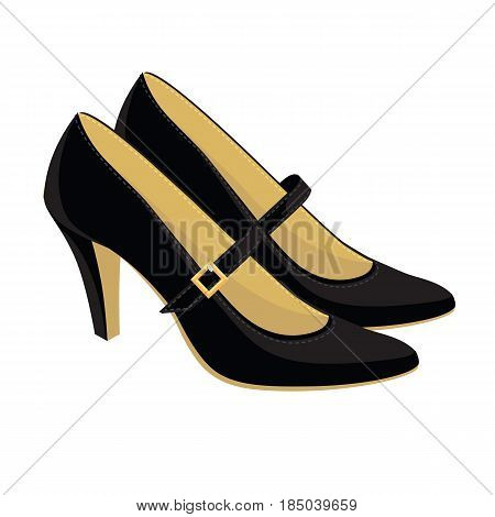 Vector illustration of classic shoes with strap on white background