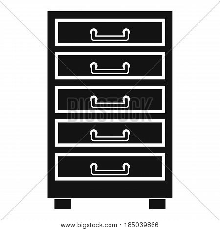 Wooden cabinet with drawers icon in simple style isolated vector illustration