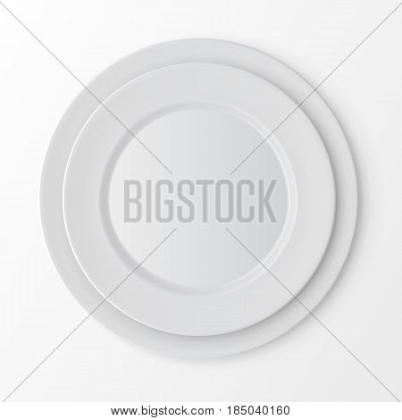 Vector Tableware Set of White Empty Plates Top View Isolated on White Background. Table Setting