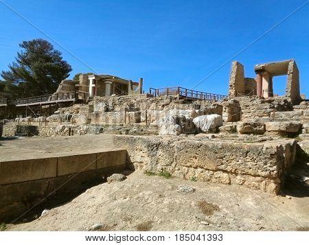 South Entrance of the Palace of Knossos against vivid blue sky, Crete Island, Greece