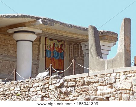 The Sacred Horn at the South Propylaeum with Cup-Bearer Fresco, Palace of Knossos on Crete Island, Greece