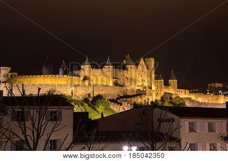 Medieval castle and city of Carcassonne at night Languedoc-Roussillon France