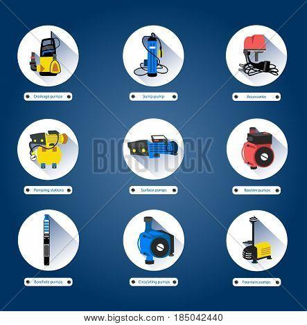 Water pumps set. Flat icons. Vector illustration.