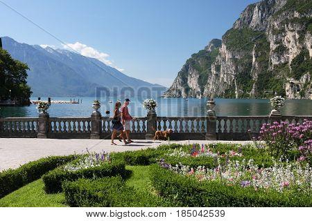 Riva Del Garda, Italy - August 2, 2016: Promenade In Riva Del Garda On Lake Garda In Italy