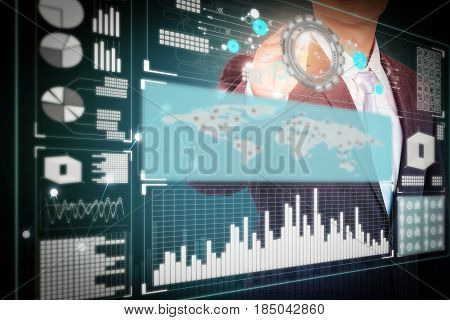 Double exposure of business man working and profit growth concept.