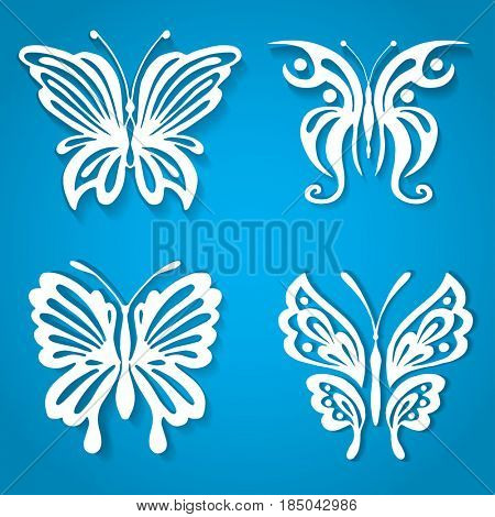 Set of decorative butterfly, decorated with organic shape paper cut style. White incects on blue background