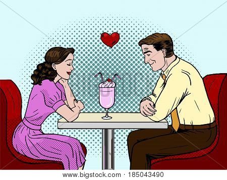 Valentines day vector illustration. . Couple on a date in restaurant. Pop art style vector illustration.