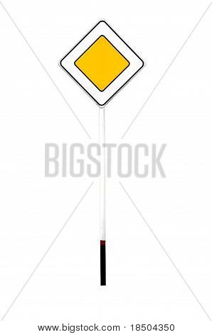 Belorussian Thoroughfare Or Main Road Traffic Sign From Belarus Isolated Over White